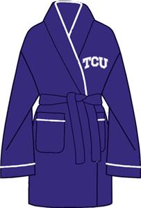 TCU Texas Christian Solid Womens Fleece Bath Robe