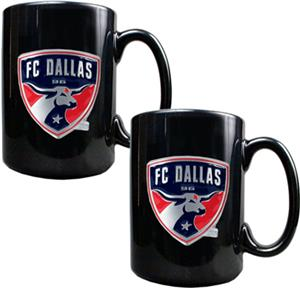 MLS FC Dallas 15oz. Black Ceramic Mug Set of 2
