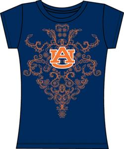 Auburn Tigers Womens Metallic Nailhead Tee