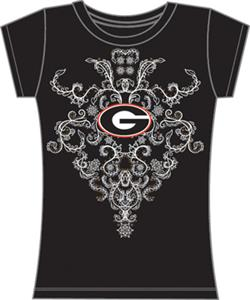 Georgia Bulldogs Womens Metallic Nailhead Tee