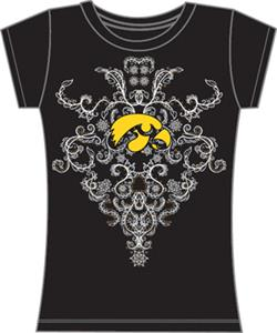 Iowa Hawkeyes Womens Metallic Nailhead Tee