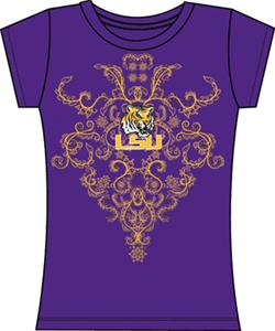 LSU Tigers Womens Metallic Nailhead Tee