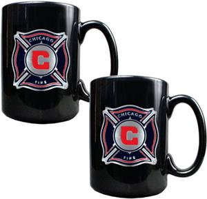MLS Chicago Fire 15oz. Black Ceramic Mug Set of 2