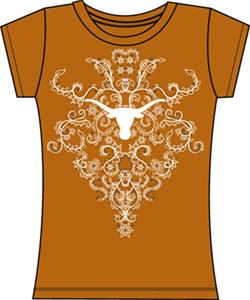 Texas Longhorns Womens Metallic Nailhead Tee