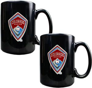 MLS Colorado Rapids Black Ceramic Mug Set of 2