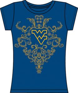 West Virginia Womens Metallic Nailhead Tee