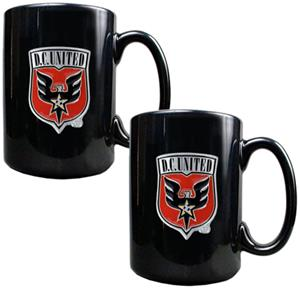 MLS D.C. United 15oz. Black Ceramic Mug Set of 2