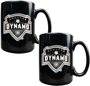 MLS Houston Dynamo 15oz Black Ceramic Mug Set of 2