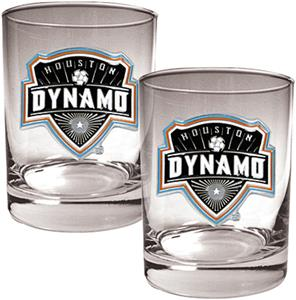 MLS Houston Dynamo 14oz. Rocks Glass Set of 2
