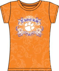 Clemson Tigers Womens Metallic Foil Image Tee