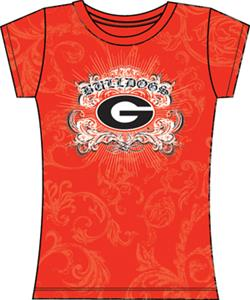 Georgia Bulldogs Womens Metallic Foil Image Tee