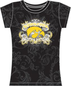 Iowa Hawkeyes Womens Metallic Foil Image Tee