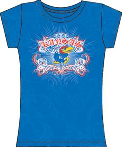 Kansas Jayhawks Womens Metallic Foil Image Tee