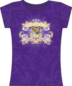 LSU Tigers Womens Metallic Foil Image Tee