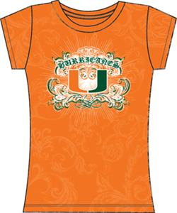 Miami Hurricanes Womens Metallic Foil Image Tee