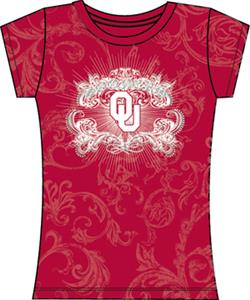 Oklahoma Sooners Womens Metallic Foil Image Tee