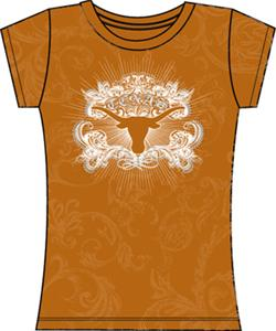 Texas Longhorns Womens Metallic Foil Image Tee