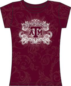 Texas A&M Aggies Womens Metallic Foil Image Tee