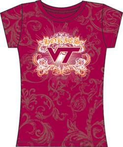 Virginia Tech Womens Metallic Foil Image Tee