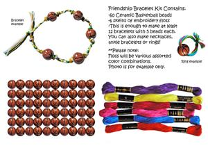 Ceramic Basketball Bead Friendship Bracelet Kits
