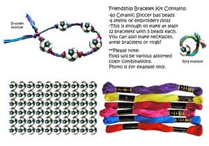 Ceramic Soccer Ball Bead Friendship Bracelet Kits