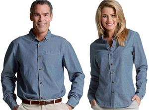 Men Womens Button Down Collar Chambray Shirts
