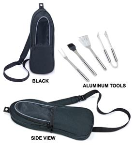 Picnic Time BBQ Sling Tote with 4-Piece Tool Set