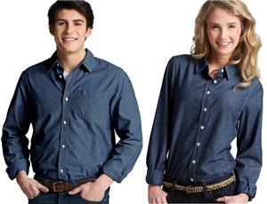 Men Womens Straight Collar Chambray Shirts