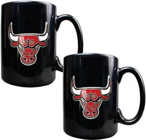 NBA Chicago Bulls Black Ceramic Mug (Set of 2)
