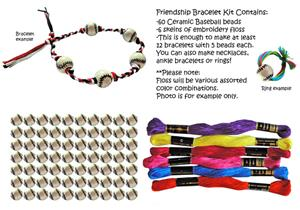 Baseball Ceramic Bead Friendship Bracelet Kits