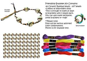 "Baseball Bead Friendship Bracelet Kits (1/2"" bead)"