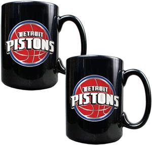 NBA Detroit Pistons Black Ceramic Mug (Set of 2)
