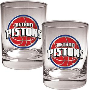 NBA Detroit Pistons 2 piece 14oz Rocks Glass Set