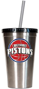 NBA Detroit Pistons 16oz Stainless Tumbler w/Straw
