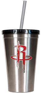 NBA Houston Rockets 16oz Stainless Tumbler w/Straw
