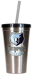 NBA Grizzlies 16oz Stainless Tumbler w/Straw