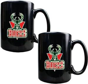 NBA Milwaukee Bucks Black Ceramic Mug (Set of 2)