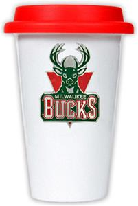 NBA Milwaukee Bucks Ceramic Cup with Red Lid