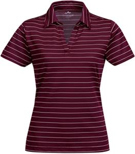 Tri Mountain Lady Dublin Poly Wide Stripe Polo