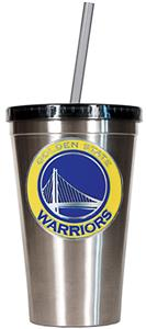 NBA Warriors 16oz Stainless Tumbler w/Straw