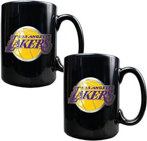 NBA Los Angeles Lakers Black Ceramic Mug Set of 2