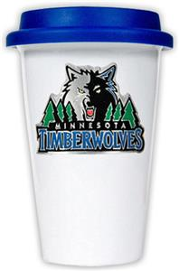 NBA Timberwolves Ceramic Cup with Blue Lid