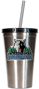 NBA Timberwolves 16oz Stainless Tumbler w/Straw