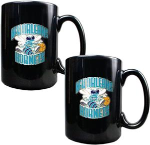 NBA New Orleans Hornets Black Ceramic Mug Set of 2