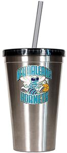 NBA Hornets 16oz Stainless Tumbler w/Straw