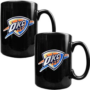 NBA Oklahoma Thunder Black Ceramic Mug Set of 2