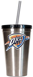 NBA Thunder 16oz Stainless Tumbler w/Straw