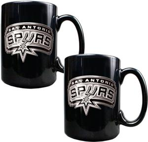 NBA San Antonio Spurs Black Ceramic Mug Set of 2