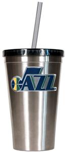 NBA Utah Jazz 16oz Stainless Tumbler w/Straw