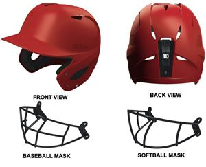 Wilson SuperFit Baseball Softball Helmets w/Mask